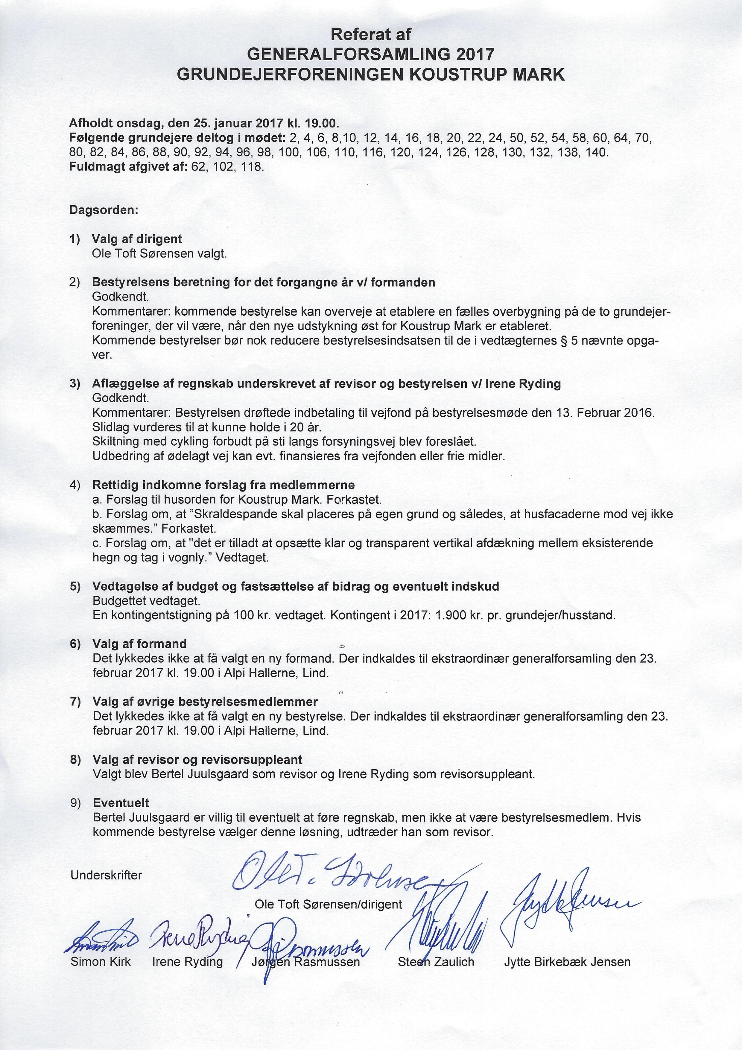 Referater fra generalforsamlinger | Koustrup Mark, 7400 Herning
